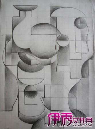 【图】几何设计素描作品鉴赏 通过组合竟产生千变万化效果