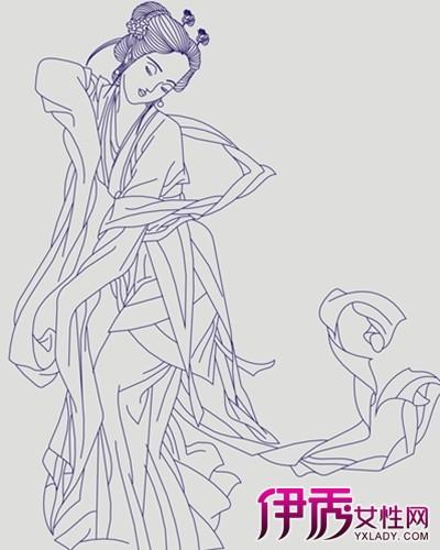 古代服装花纹图案铅笔画