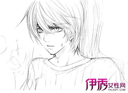 铅笔黑白色 手绘男生