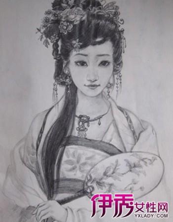 【素描古装美女铅笔画】【图】素描古装美女铅笔画