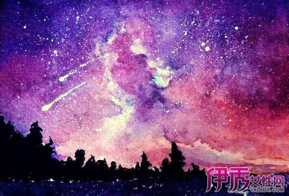 【星空手绘水彩插画】【图】星空手绘水彩插画图片