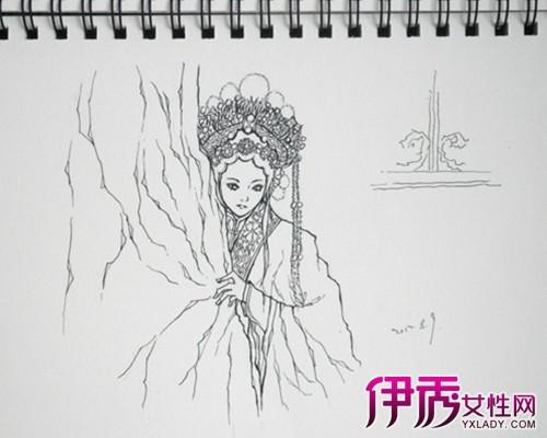 古代嫁衣手绘图素描