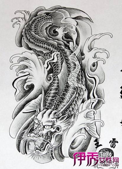 鲤鱼铅笔画 人物