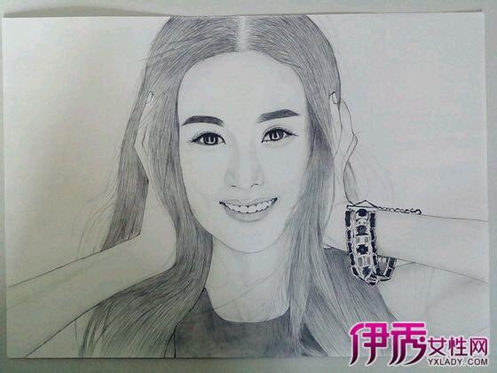 赵丽颖素描铅笔画侧影_绘画分享