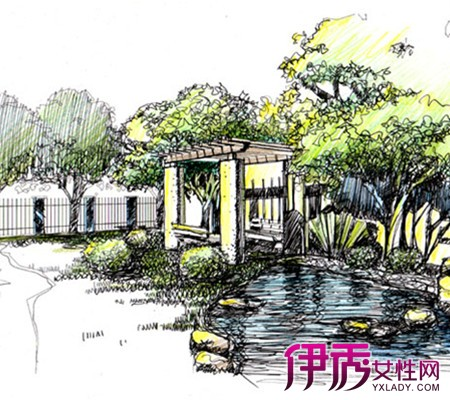 式园林景观手绘效果图欣