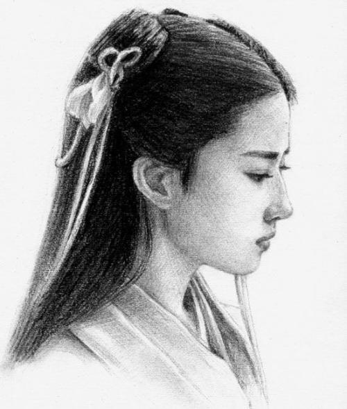 古代美女画像素描简单 古代美女素描画像