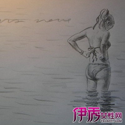 design 一个人看海背影素描_素描背影_素描背影女孩图片_  在海边看