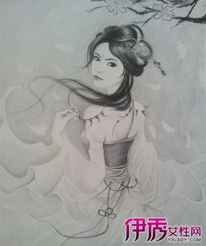 古装女孩铅笔画简单
