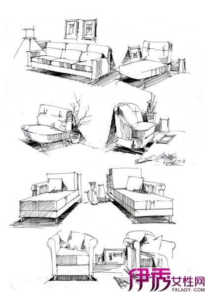 【室内家具单体手绘】【图】室内布置家具单体手绘