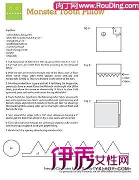 可爱工艺做法创意鬼脸、靠垫的布艺DIY_创意和图纸护腕车工图片