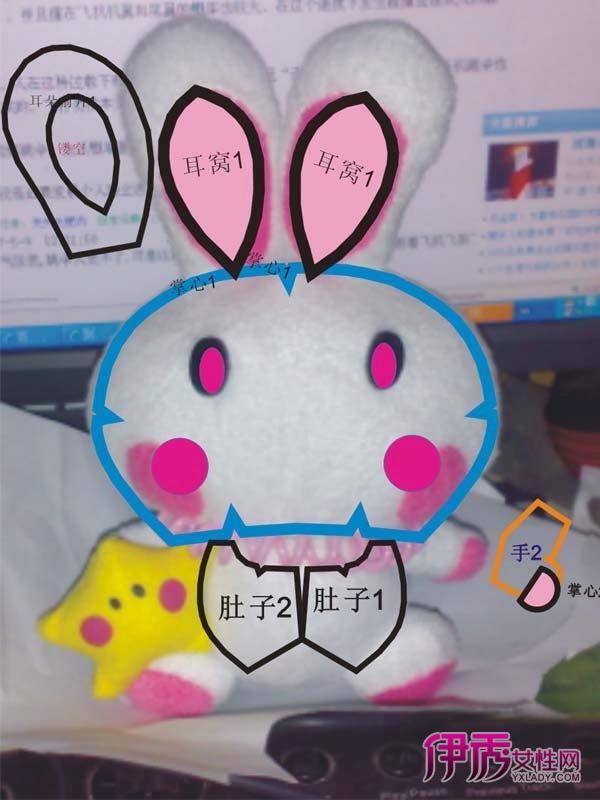 兔年diy可爱的布艺小兔子娃娃,有1比1纸样哦