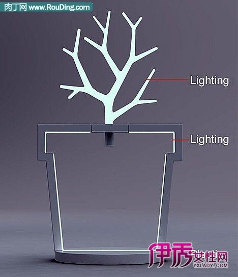 概念灯设计将led灯泡变成树的形状,躲在黑暗的花盆中为被砍断的树根
