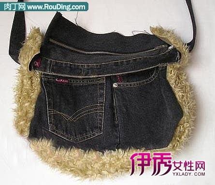 旧牛仔裤改造的时尚非主流挎包