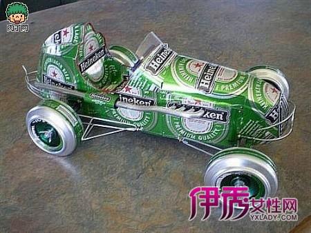 易拉罐制作的手工作品你肯定见; 易拉罐制作的汽车 有才!