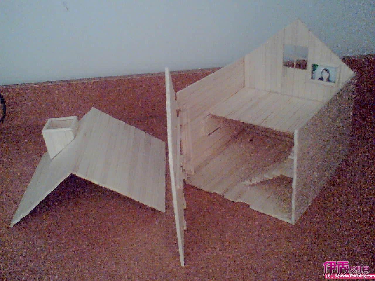 用一次性方便筷子手工制作房子模型