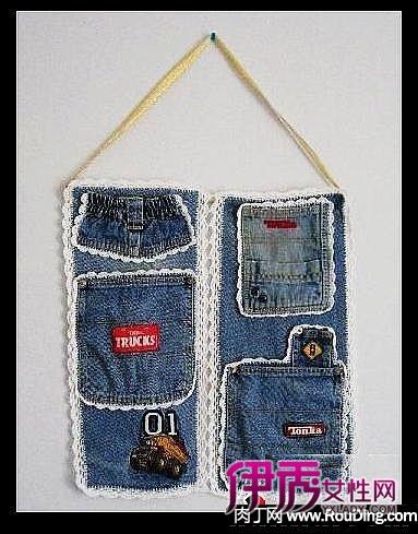 旧牛仔裤改造再利用之鼠标垫+收纳袋+纸巾盒