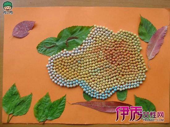 儿童手工制作图片—用豆子制作的儿童拼贴画
