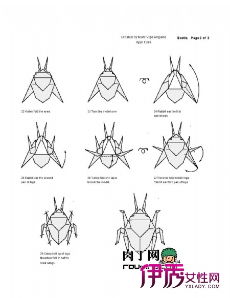 甲虫的折纸方法图解 甲虫身体外是一层硬壳