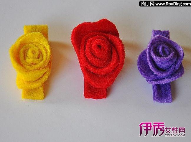 可爱玫瑰花儿童发夹diy制作教程