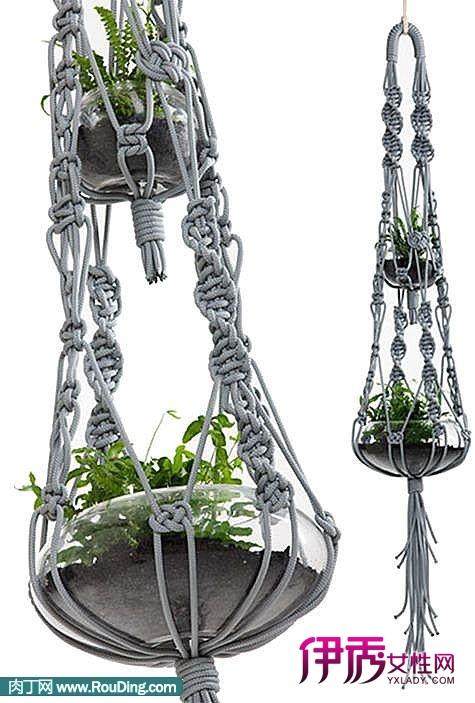 伊秀生活网 创意 / 正文  用手工编织的网兜来做吊兰的花盆托,创意