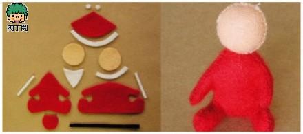 圣诞节简单可爱的不织布diy图解小鹿牵着雪橇上的圣诞