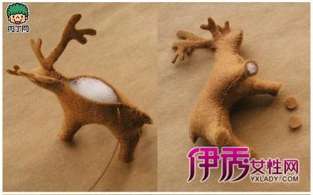圣诞节简单可爱的不织布diy图解小鹿牵着雪橇上的