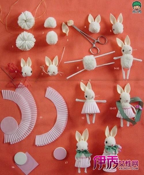 羊毛毡子做成的小兔子挂件可爱公仔diy教程