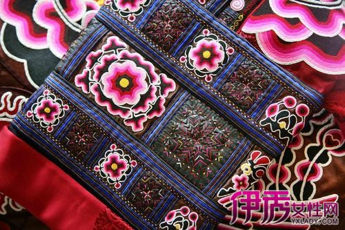 苗族刺绣另一特色是借助色彩的运用