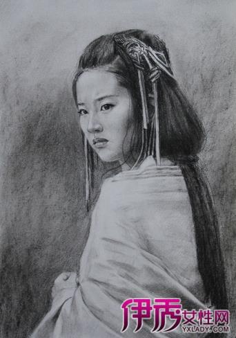 古裝美女素描鉛筆畫_動漫素描
