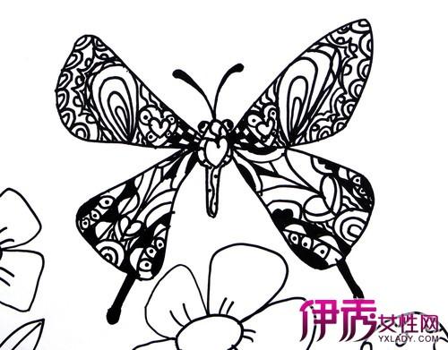 桃花 黑白 手绘 高清