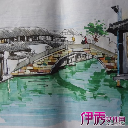 【马克笔手绘风景】【图】学子们的马克笔手绘风景