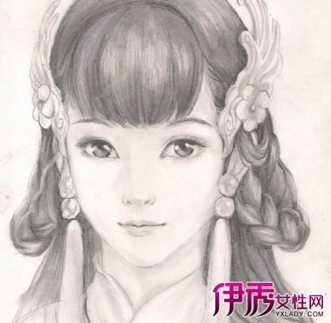 【手绘素描古装美女】【图】精美手绘素描古装美女