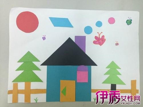 数学图形拼贴画教学 大班幼儿拼贴画示意稿图片