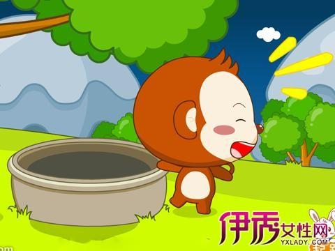 猴子捞月亮的故事简笔画四格分享展示