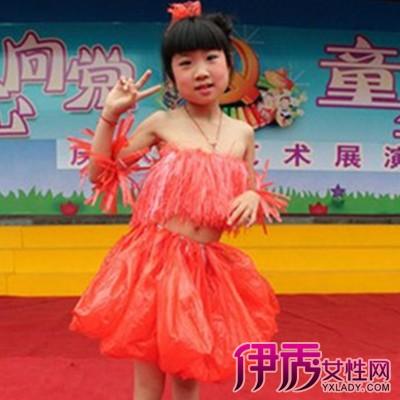 创意 正文  可爱的流苏抹胸裙子是不是很难看出是红色塑料袋制成的图片