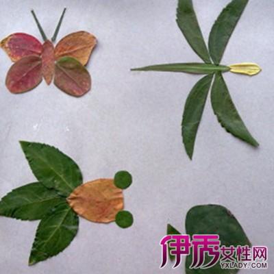 树叶粘贴画:松鼠,幼儿树叶贴画作品图片
