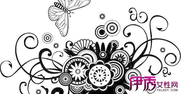 黑白花卉图案设计图片展示