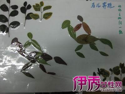 树叶拼贴画是通过孩子自己寻找各种不同形状的树叶,最好老师能提前