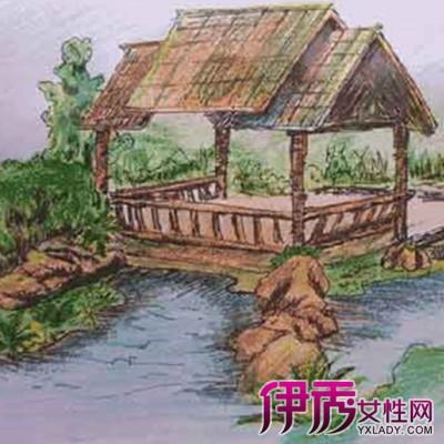 园林亭子小品手绘