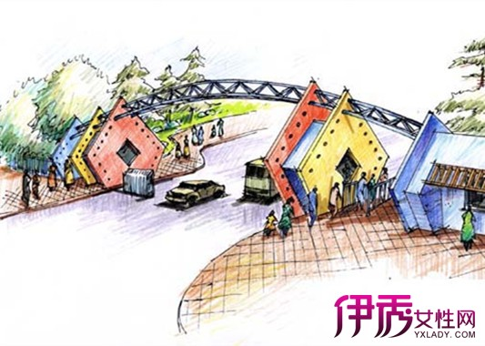 【图】公园大门手绘效果图 醒目公园设计还你一个清净的大自然