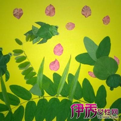 手工制作的树叶拼贴画,树叶粘贴画借美术之灵,创自然之美,可以发展