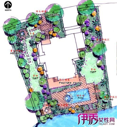 【图】庭院景观设计手绘平面图欣赏