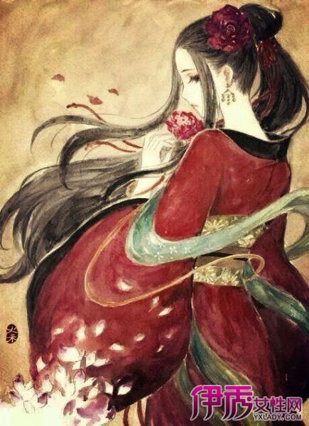 【手绘古风妖孽美女】【图】彩色手绘古风妖孽美女