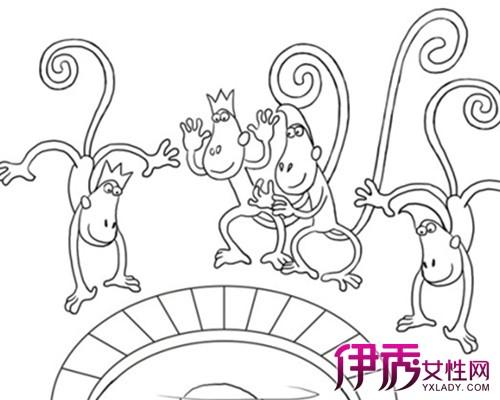 【图】猴子捞月简笔画大全 简单又传神的图片