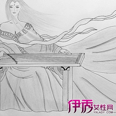 【手绘古装美女简笔画】【图】唯美的手绘古装美女简