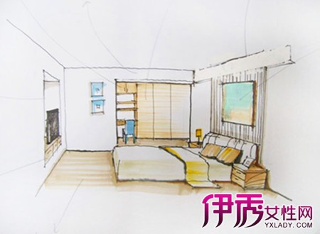 客厅电视立面图马克笔手绘