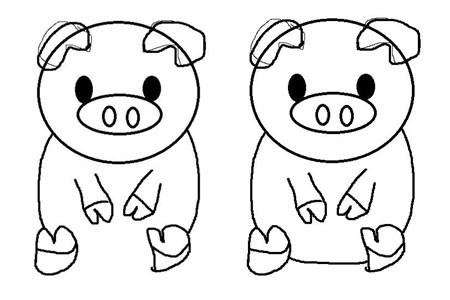 【简笔画】【图】简笔画动物怎么画 可爱小猪