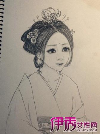 动漫古装美女手绘铅笔_手绘古装