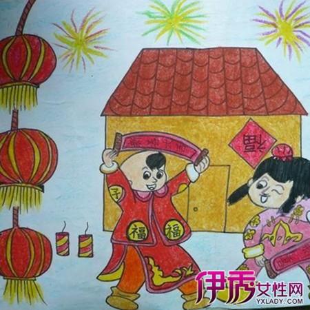 简单儿童春节画画