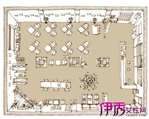【图】分享咖啡厅手绘平面图